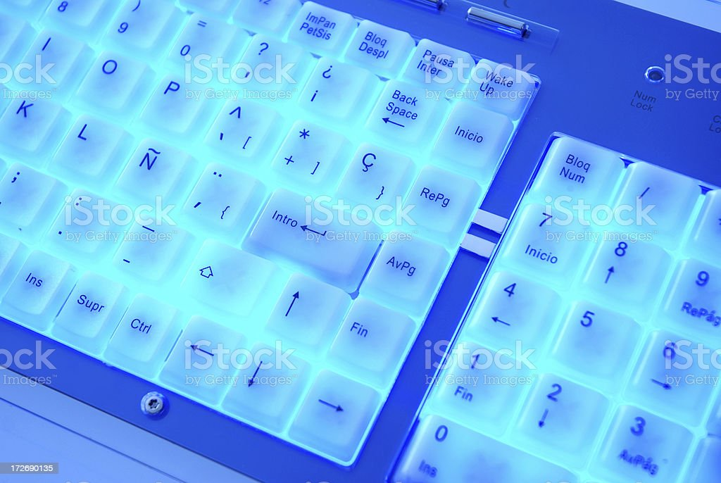 Blue keyboard. royalty-free stock photo