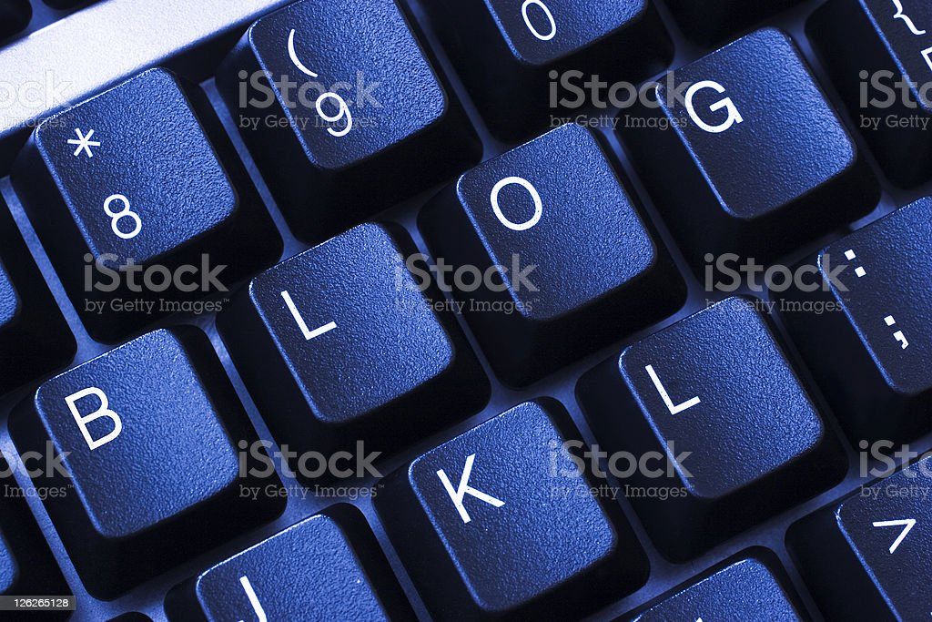 Blue keyboard with blog written on it royalty-free stock photo