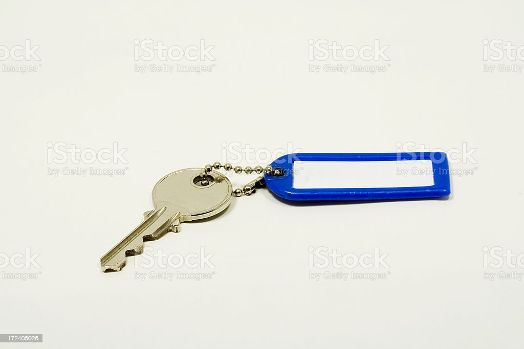 blue keychain with key royalty-free stock photo