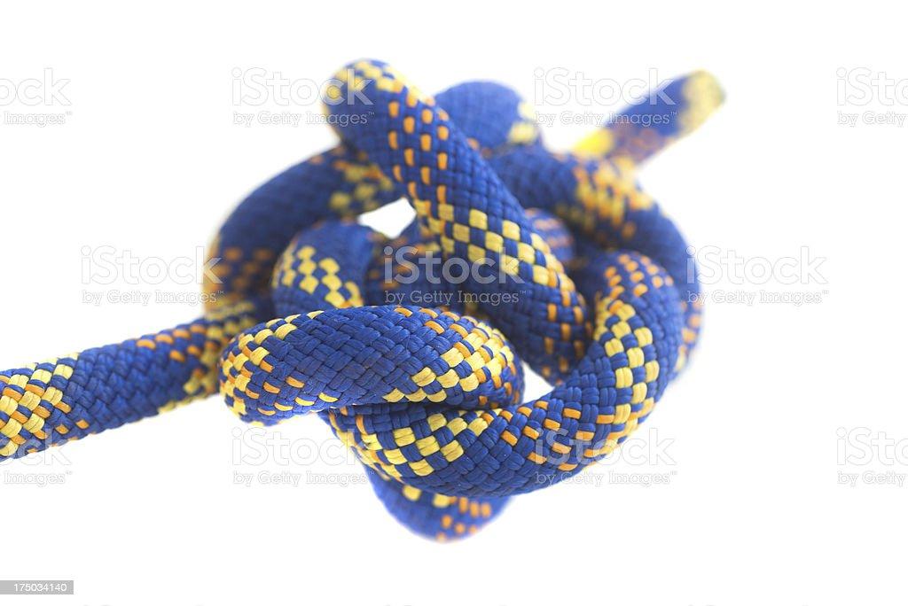 blue knot diagonal view - Knoten aus Kletterseil stock photo