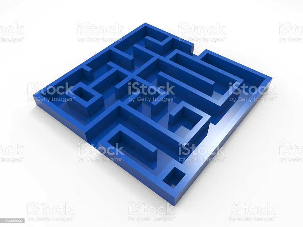 blue labyrinth on white background stock photo
