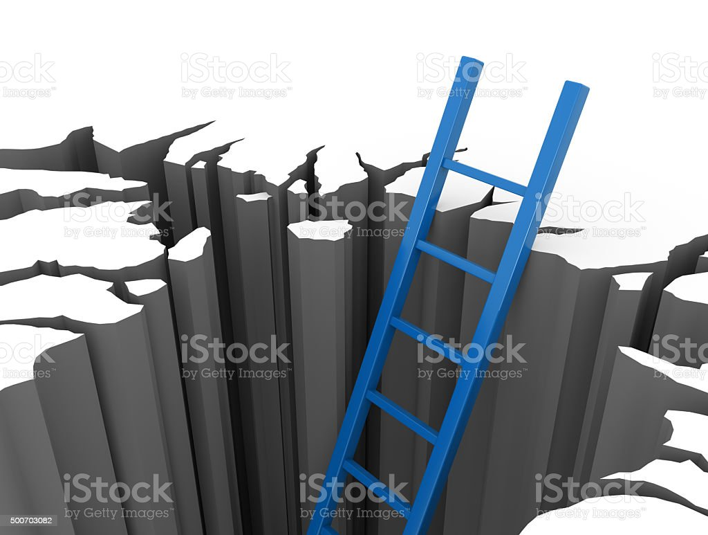 Blue ladder leads out of a pit stock photo
