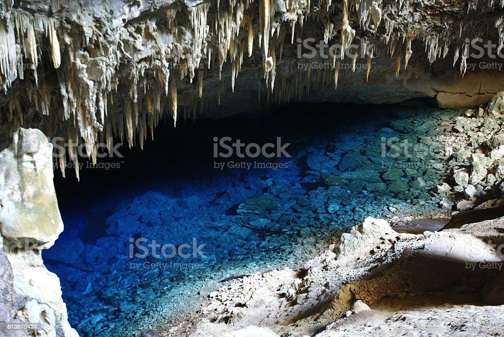 Blue Lagoon a tourist attraction at Bonito, Brazil stock photo