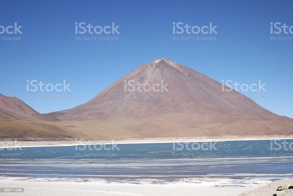 Blue Lagoon and Volcano. stock photo