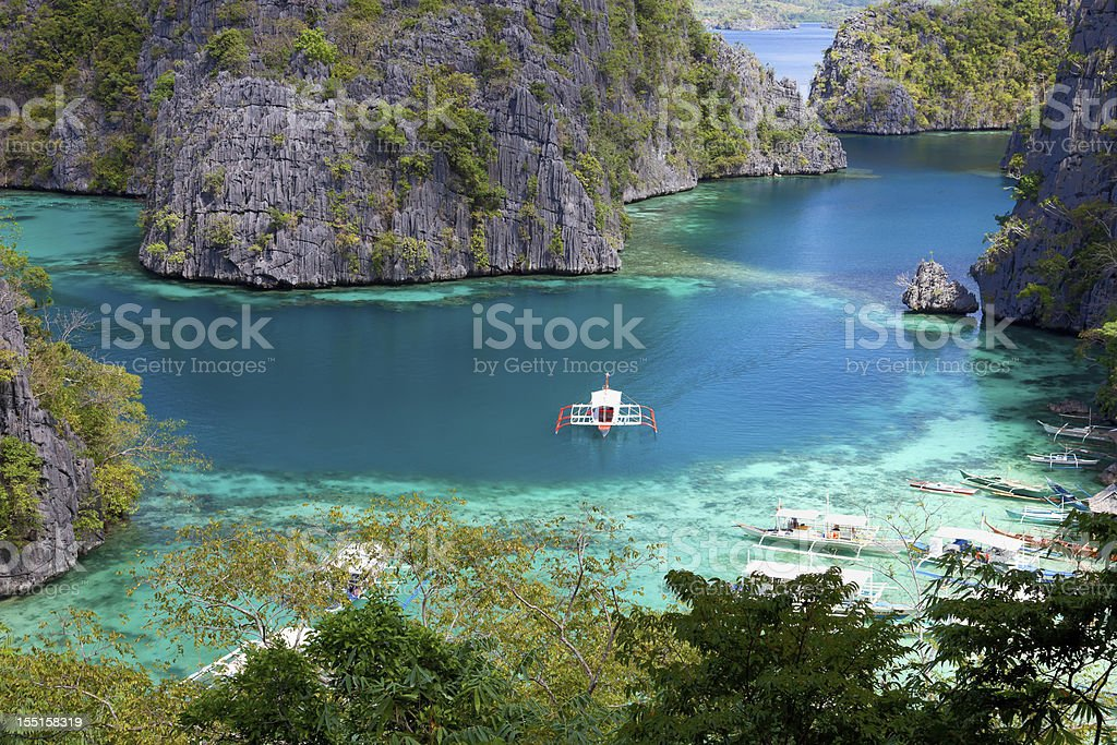 Blue Lagoon at Kayangan Lake, Coron island, Philippines stock photo