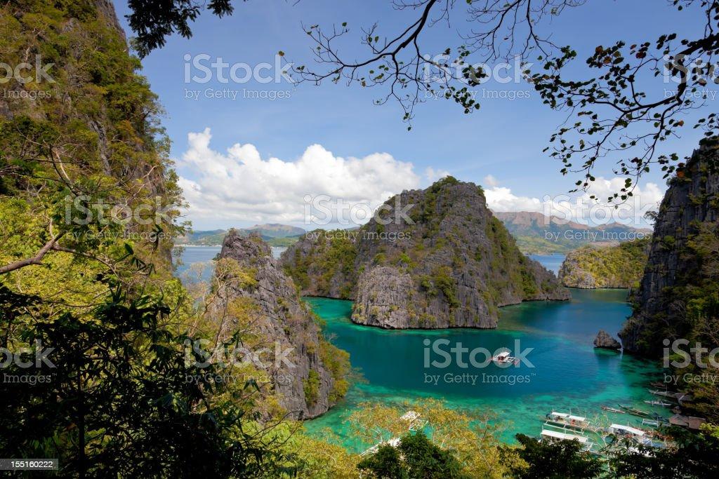 Blue Lagoon at Kayangan Lake, Coron island, Philippines royalty-free stock photo