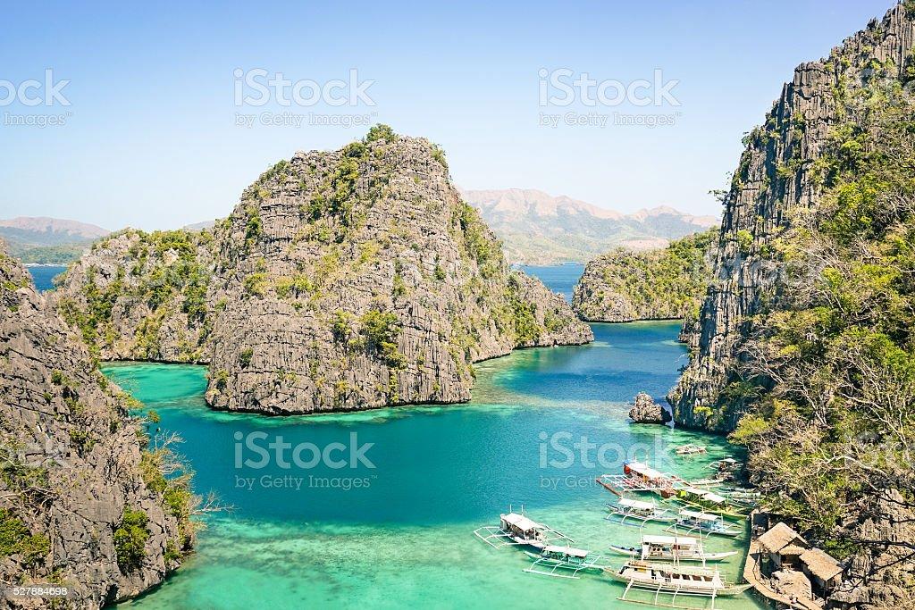 Blue lagoon by Karangan Lake in Coron Palawan Philippines stock photo
