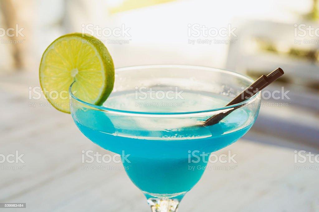 Blue Lagoon Cocktail stock photo