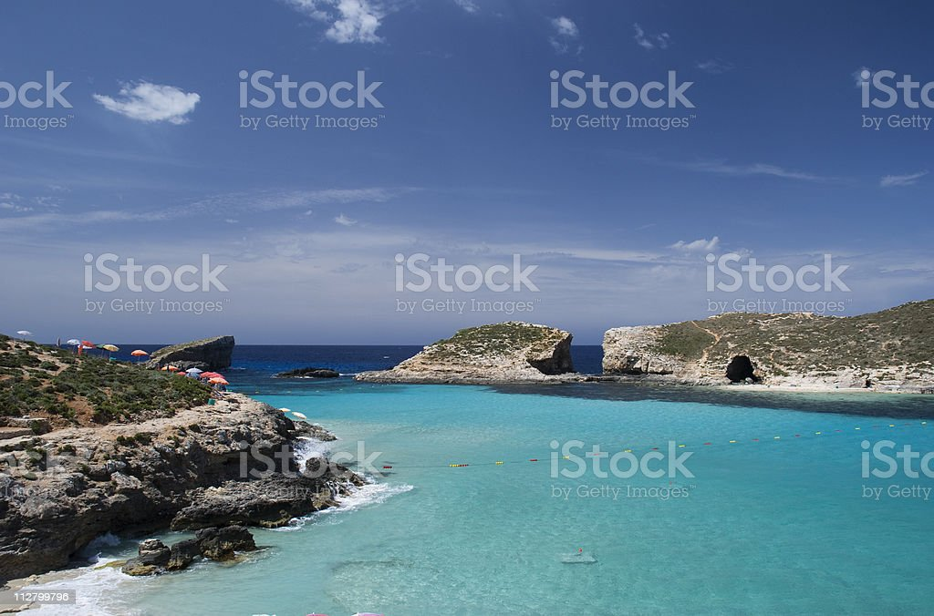 Blue lagoon in the country of Malta stock photo