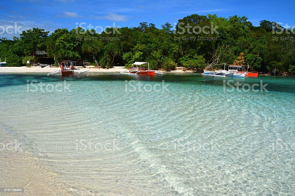 Blue lagoon, Mantigue Island Philippines stock photo