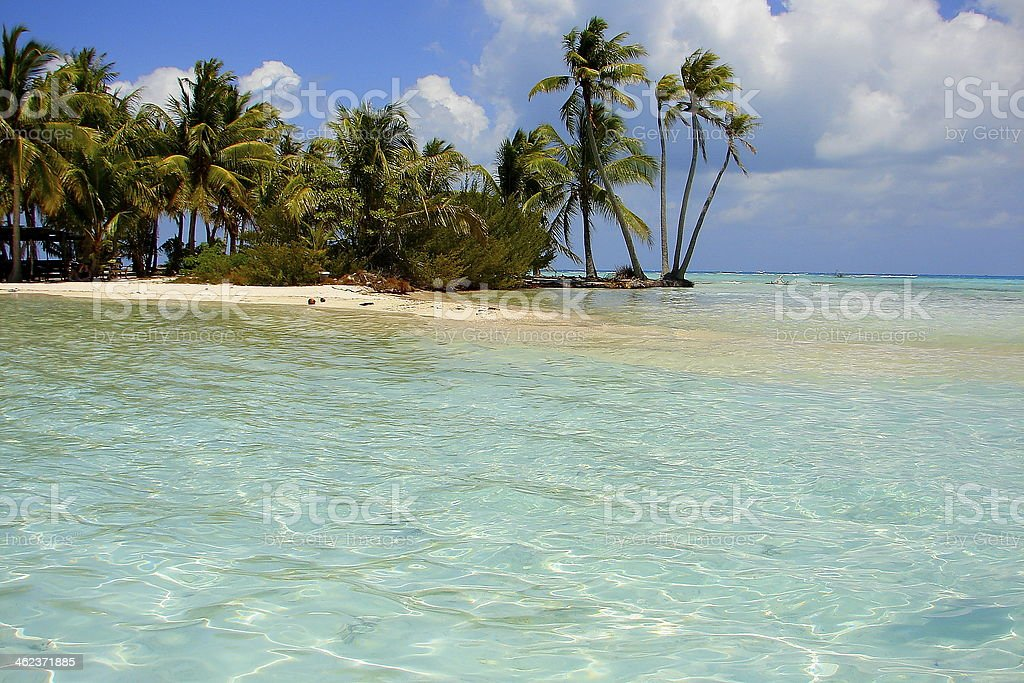 Blue Lagoon near Rangiroa, Tahiti, French Polynesia stock photo