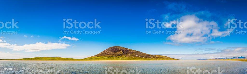 Blue lagoon ocean island beach panorama summer skies Hebrides Scotland stock photo