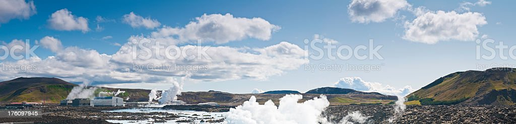 Blue Lagoon panorama Iceland geothermal steam volcanic landscape royalty-free stock photo