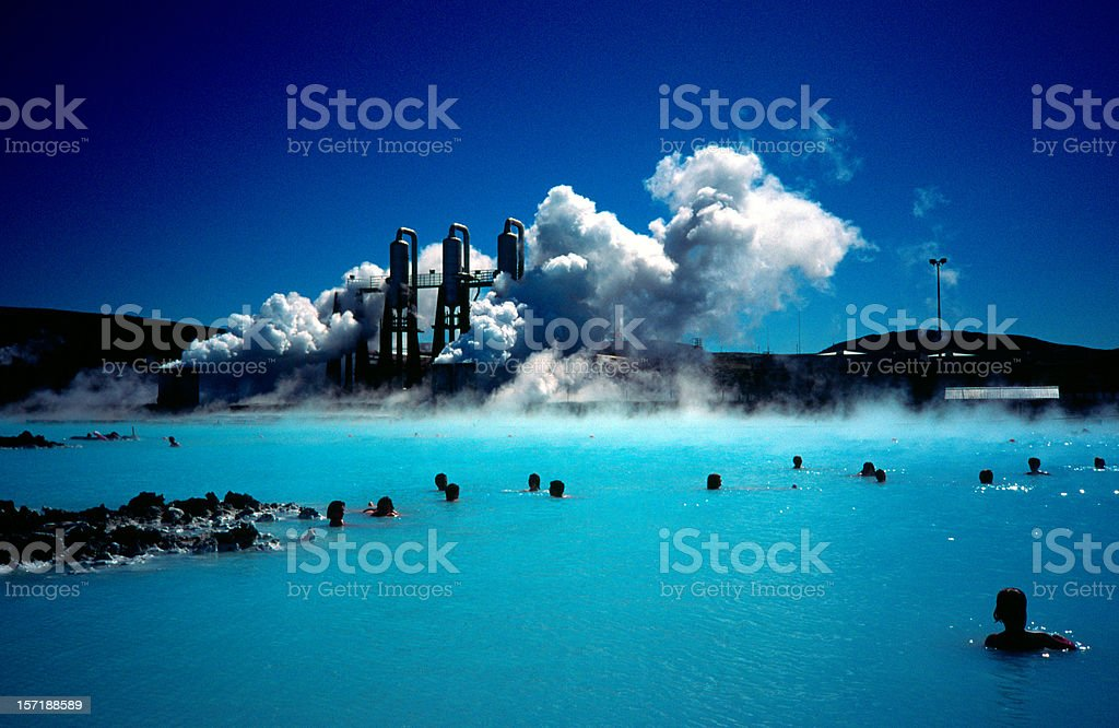 Blue Lagoon, people bathing in hot spring. stock photo