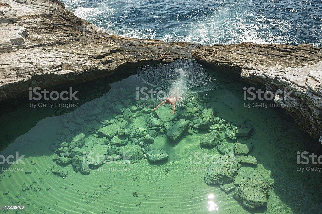 Blue Lagoon Swimming stock photo