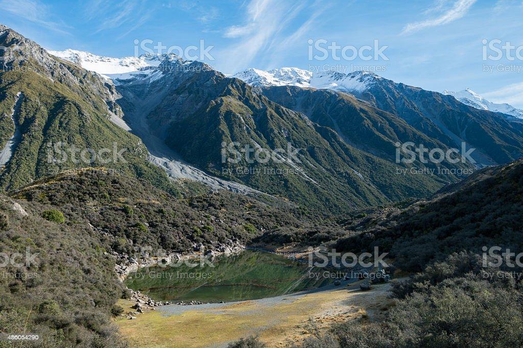 Blue Lake at Tasman Valley Walk Track, Aoraki, New Zealand stock photo