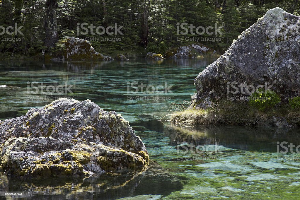 Blue Lake Boulders stock photo