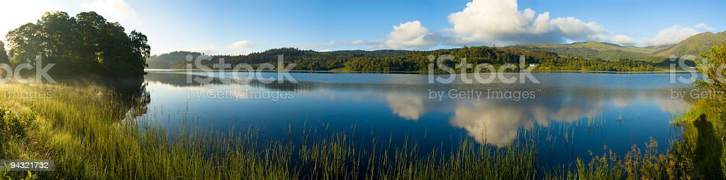 Blue lake, forest, hills reflected royalty-free stock photo