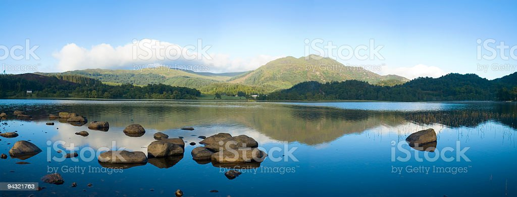 Blue lake, green mountain, clear sky stock photo