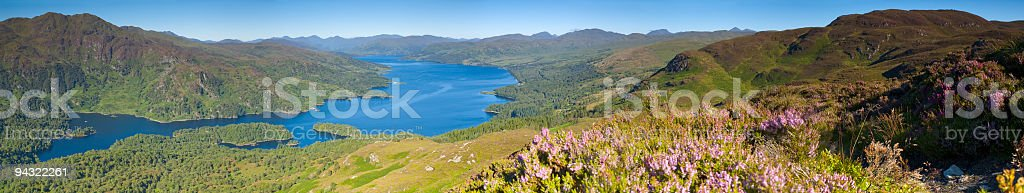 Blue lake, green mountain summits royalty-free stock photo