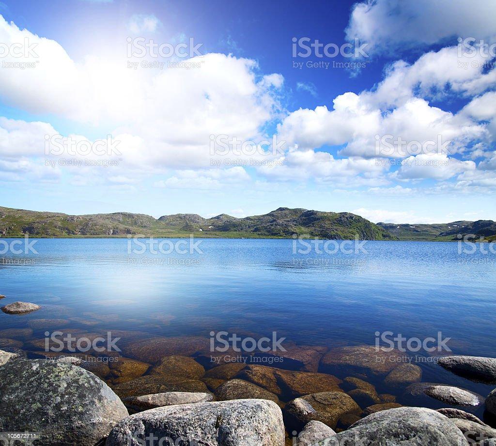 Blue lake idill under cloudy sky royalty-free stock photo