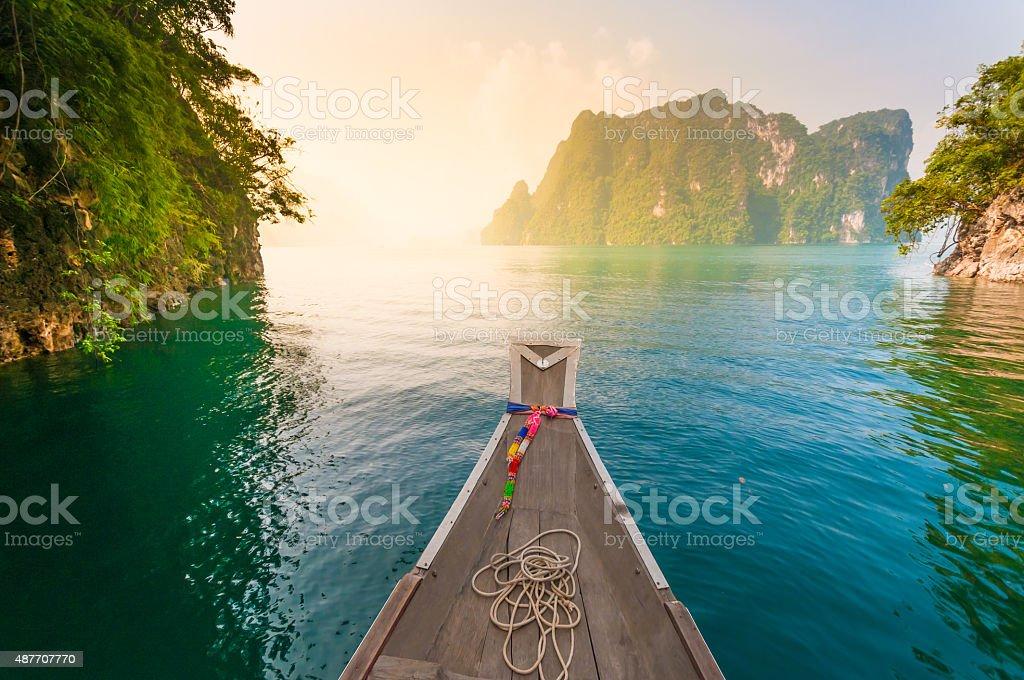 Blue lake in Chiewlarn Surat Thani Thailand stock photo