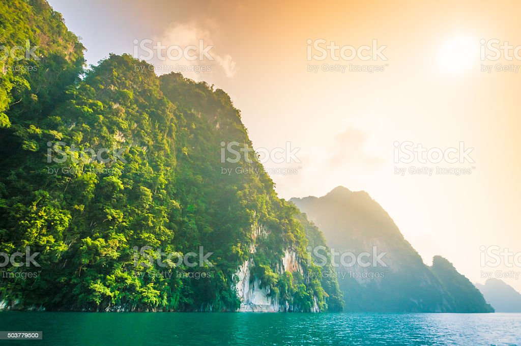 Blue lake in Chiewlarn Surat Thani Thailand stock photo