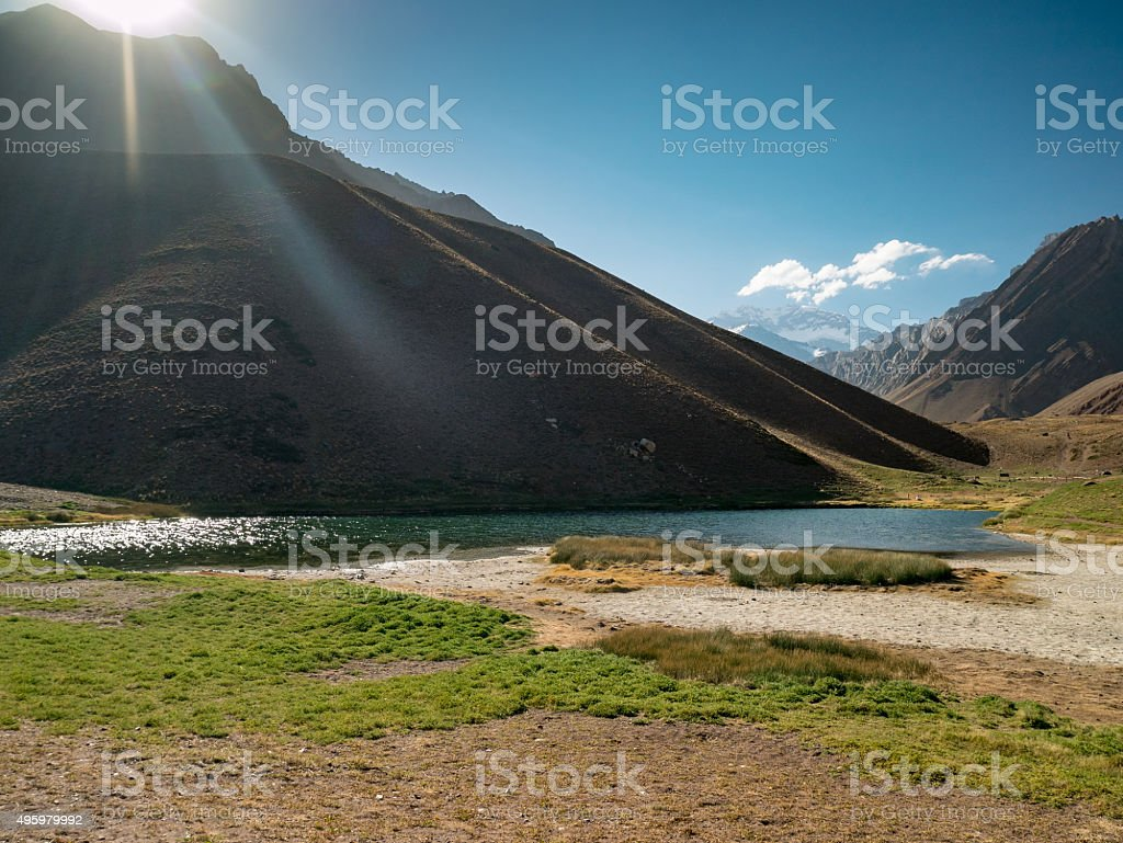 Blue Lake in the Andes, near of Aconcagua royalty-free stock photo