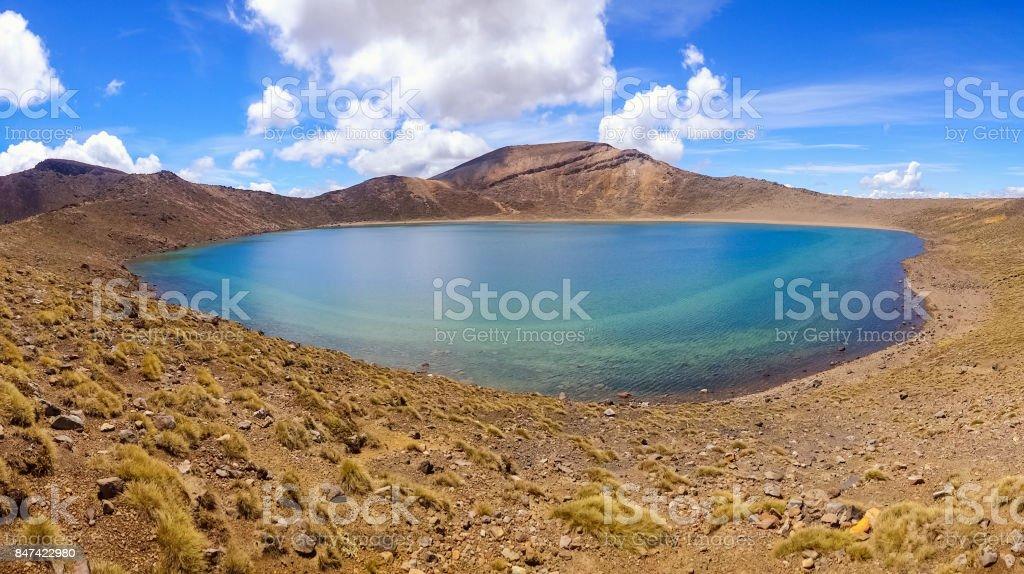 Blue Lake in Tongariro National Park New Zealand stock photo