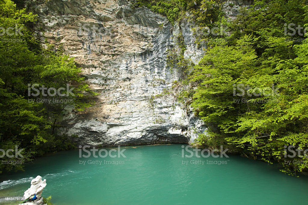 Blue lake stock photo