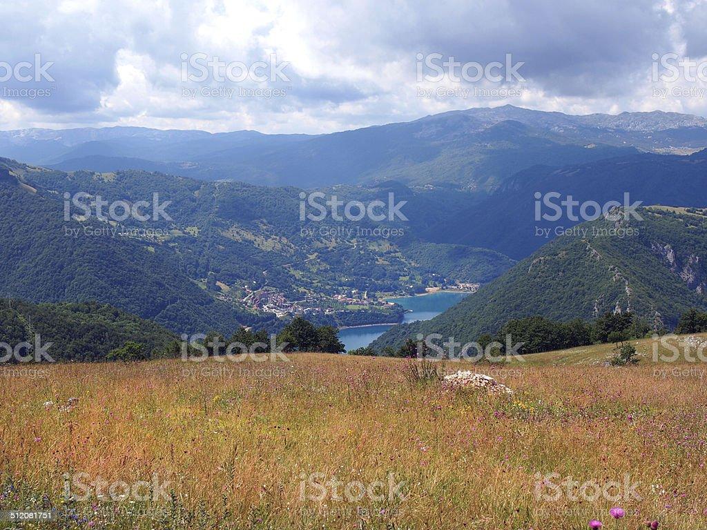 blue lake stock photo