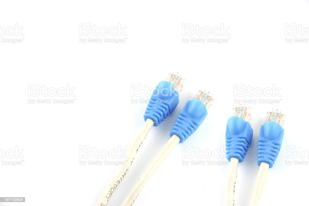 Blue Lan Cables. royalty-free stock photo
