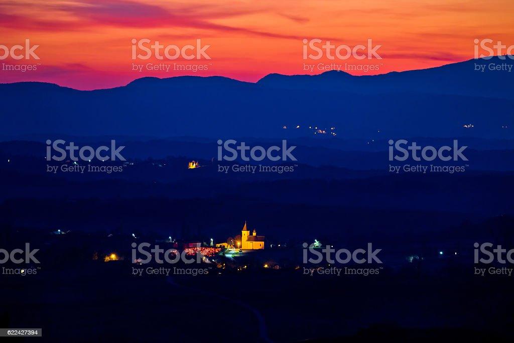 Blue landscape at red sundown in Prigorje stock photo