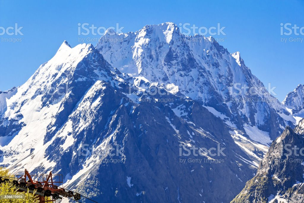 Blue landscape with Russian Caucasus rockies stock photo