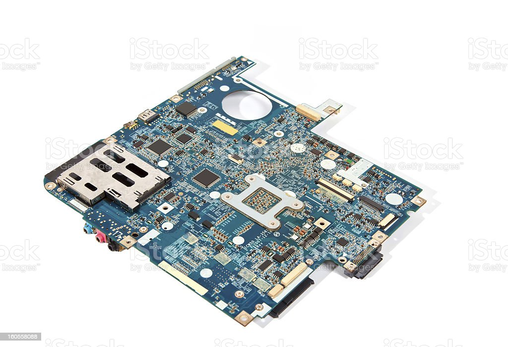 Blue laptop motherboard isolated on white royalty-free stock photo