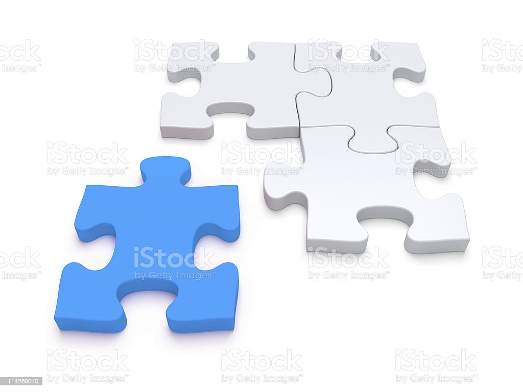 Blue last jigsaw puzzle piece stock photo