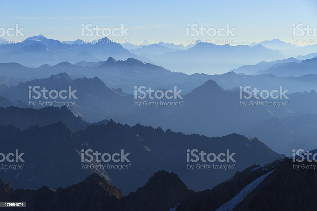 Blue layers of mountains stock photo