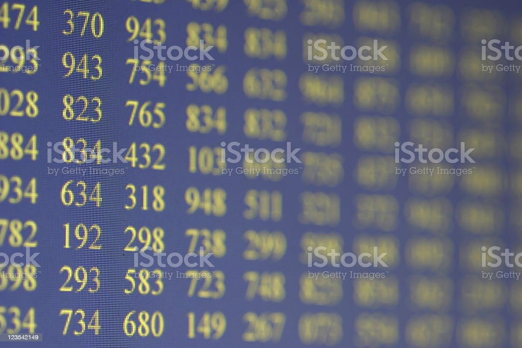 Blue LCD screen with numbers royalty-free stock photo