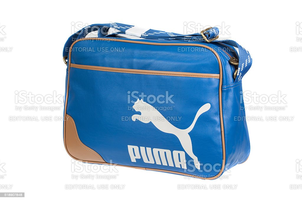 PUMA Blue leather bag, isolated on white. Product shot stock photo
