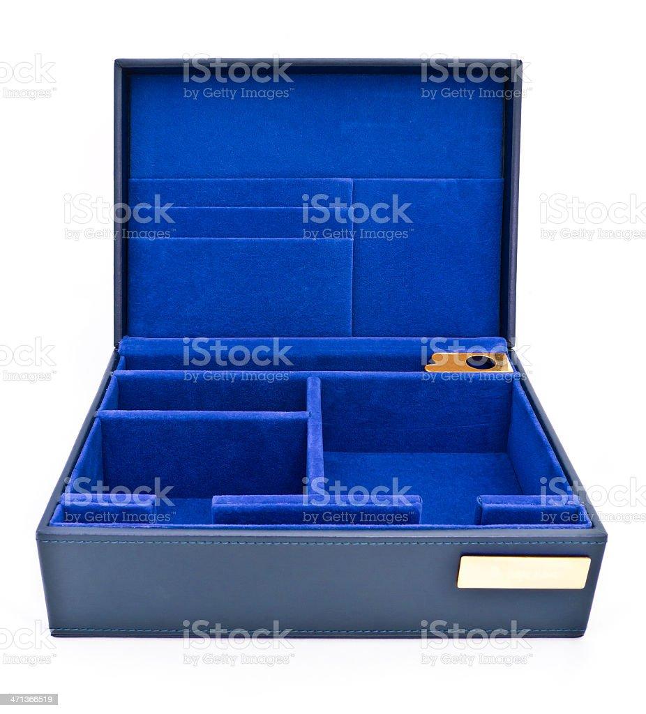 Scatola in pelle blu isolato su sfondo bianco foto stock royalty-free