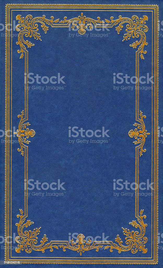 Blue leather cover stock photo