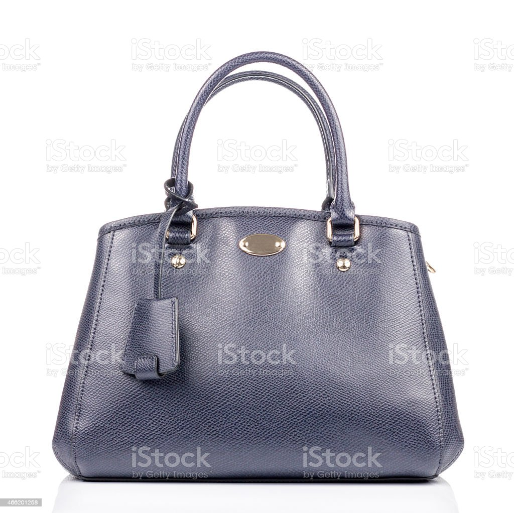 Blue leather Hand bag stock photo