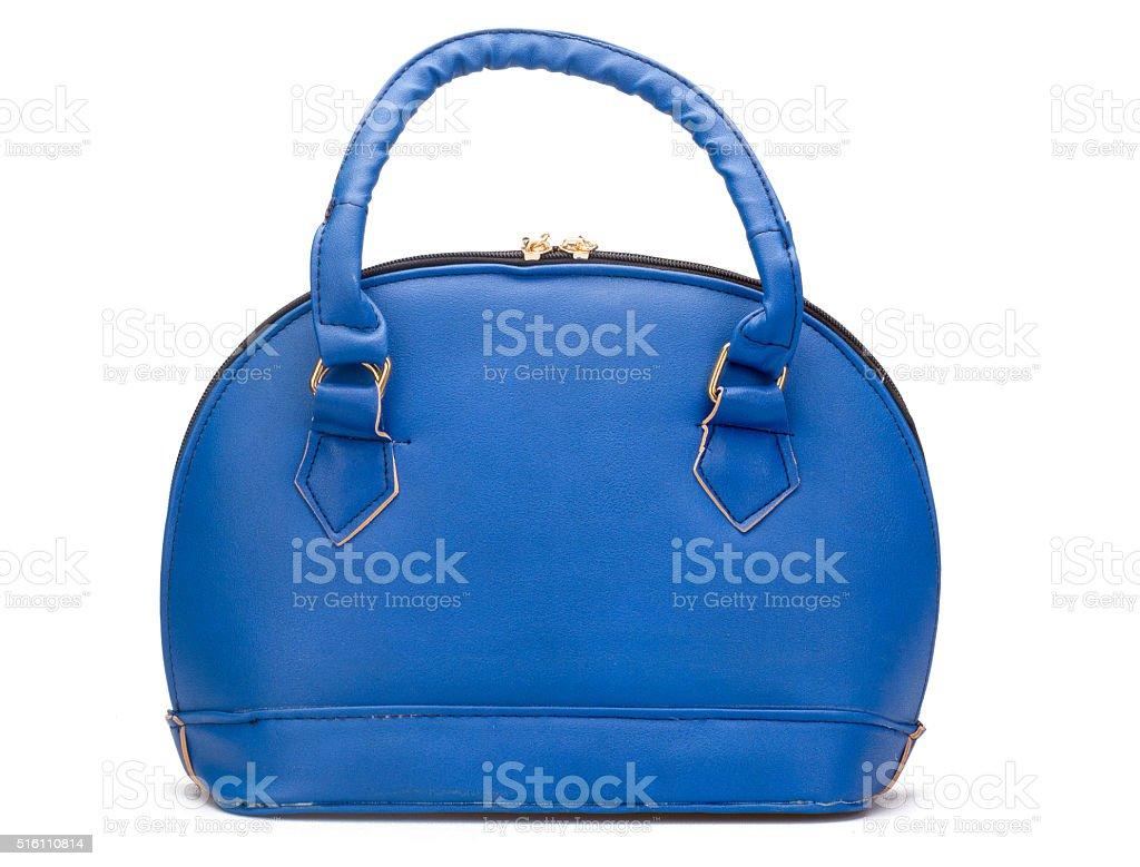 Blue Leather Hang Bag stock photo