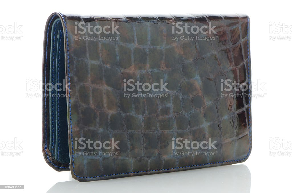 Blue leather purse royalty-free stock photo