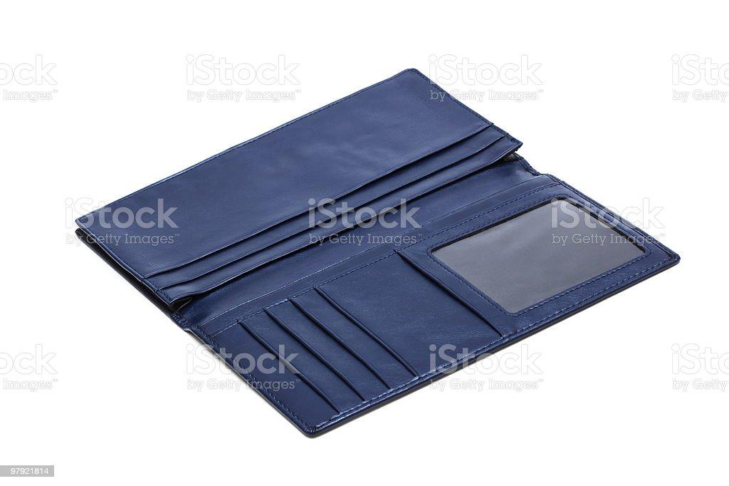 blue leather purse stock photo