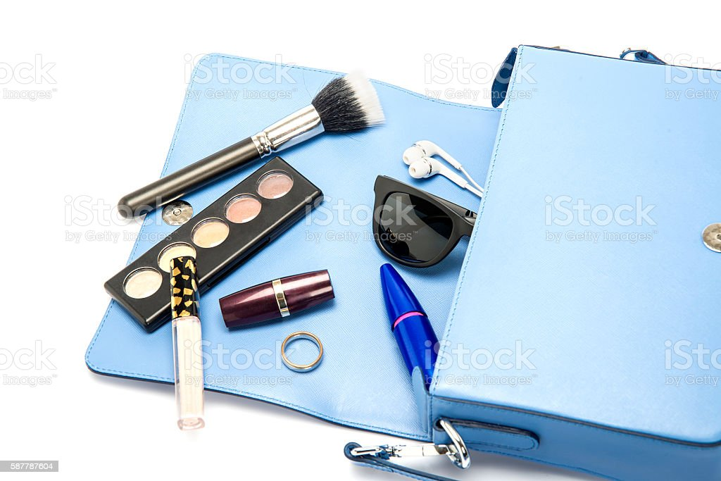 Blue Leather Woman Bag With Contents stock photo