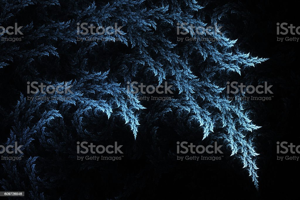 Blue leaves on black background stock photo