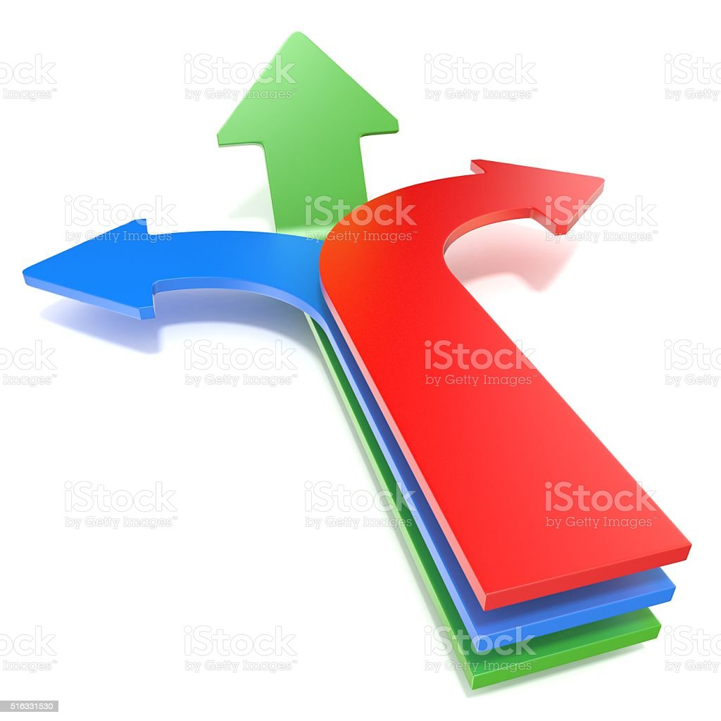 Blue left, red right and forward green arrows concept. 3D stock photo