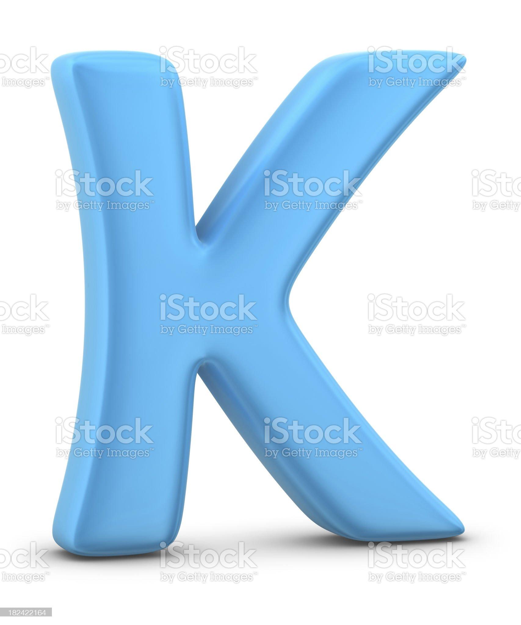 blue letter K royalty-free stock photo