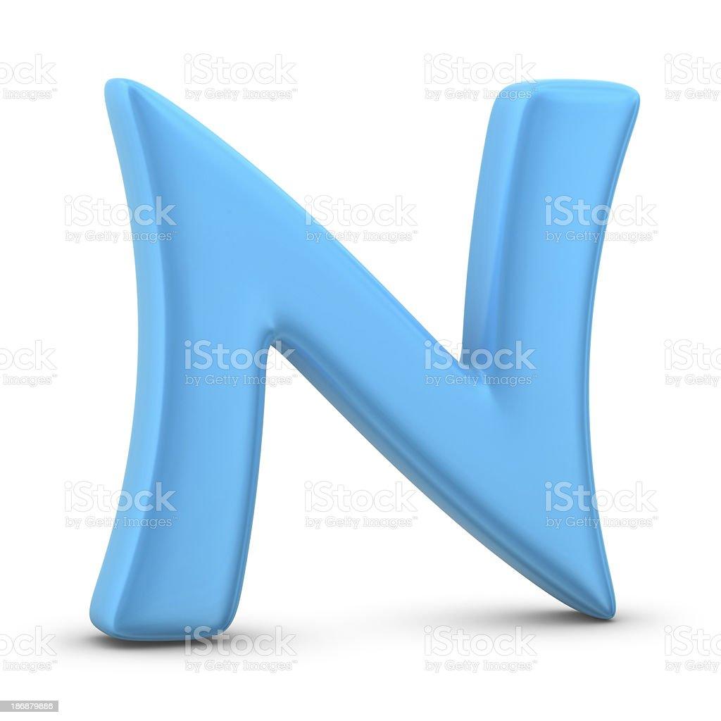 blue letter N stock photo